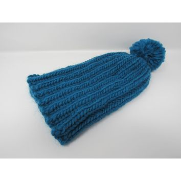 Handcrafted Knitted Hat Beanie Teal Pom Pom 100% Merino Wool Female Adult -- New No Tags