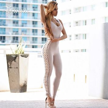 Free Shipping 2017 Hot Sale Chic Side Hollow Out Cross Criss Sexy Deep Vneck Women Bodysuit Bandage Jumpsuit
