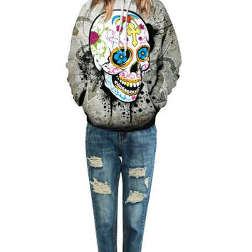 Painted Skull Hooded Sweater 13247