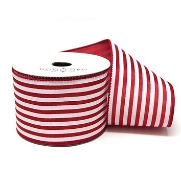 Cabana Stripes Satin Wired Ribbon, Red, 2-1/2-Inch, 10 Yards
