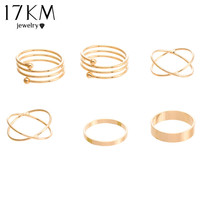 Unique Ring Set Punk Gold Plated Knuckle Rings Finger Ring 6 PCS Ring Set M12