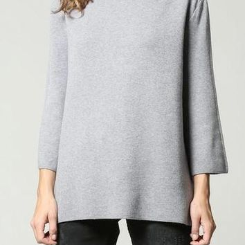 Ellis Ultra Soft Mock Neck Sweater in Charcoal