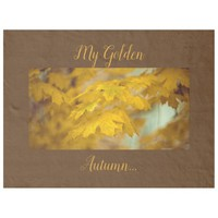 Yellow autumn maple leaves. Add you text or name. Fleece Blanket
