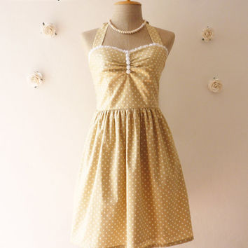 Bridesmaid Dress Simply Classy Khaki Dress Tea Length Dress Classic Polka Dot Dress Party Dress Once Upon A Time -Size XS, S, M, L, CUSTOM-