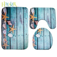 Honlaker 3Pcs/set Mediterranean Style Bathroom Toilet Mats Soft and Absorbent Flannel Bath Mat