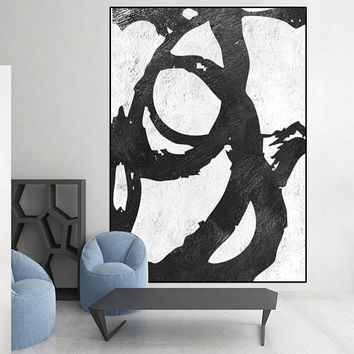 large art, original Acrylic painting, black and white wall art painting,  canvas art,  art for big wall, Contemporary Painting