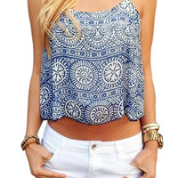 Blue Strappy Tribe Print Cami Top