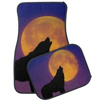 Wolf Howling at the Moon Car Mat