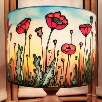 Poppy Field Sunset, Hand Silk Painted Lamp Shade, 30cm Drum, Made To Order.