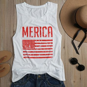 Women Tank American Flag Striped Printed Tops O-Neck Sleeveless Cropped Top Summer 2017 Girls Soft Casual Loose White Female