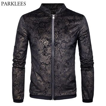 Paisley Jacket Men 2017 Gold Print Mens Jackets Coats Autumn Winter Men Jacket Casual Stand Collar Male Jackets Casaco Masculino