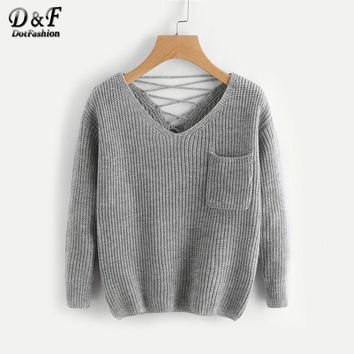 Double V Lace Up Back  Knit Jumper Autumn Grey Pocket Pullovers  V Neck Long Sleeve Loose Sweater