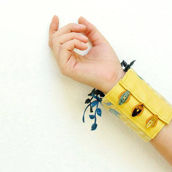 Embroidered and Crocheted Textile Cuff with Leather and Vintage Buttons Yellow and Blue
