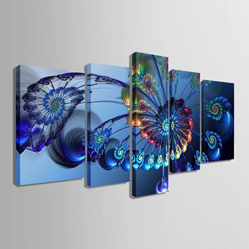 (Unframed, Print Only) Canvas Print for Home Decoration Office Hotel Wall Art Wall Pictures Animal Peacock Feather Blue