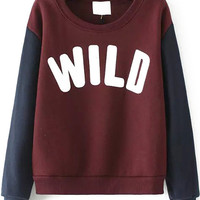 Wine Red Wild Print Long Sleeve Sweatshirt