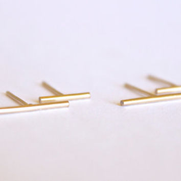 Parallel Line Earring Set - 14k Gold Fill or Sterling Silver - Line Posts - Gold Lines - Simple Gold Earring - Delicate Minimalist Studs