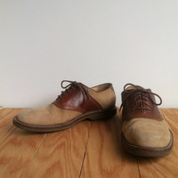 Mens Two-Tone Oxfords - Suede Genuine Leather Brown Beige Lace Up Dress Shoes - Johnston & Murphy - Mens Size 9