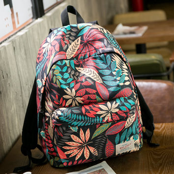 Large Canvas Fresh Leaves Backpack