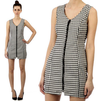gingham dress // vintage 90s // black white // by shopCOLLECT