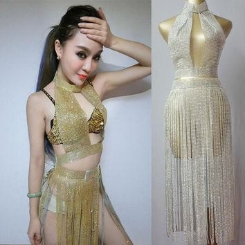 LMFUNT Female Singer Sexy Pole Dance Clothing Outfit  Sparking Paillette Tassel Set