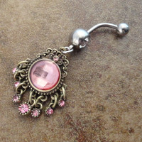 Pink Gem Dangle Belly Button Jewerly