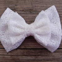 Little Lady Boutique    Big Double Lace Bow - White   Online Store Powered by Storenvy
