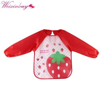 Cute Baby Toddler Waterproof Long Sleeve Bibs Children Kids Feeding Smock Apron Suitable For Dressing