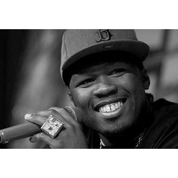 50 Cent Poster Standup 4inx6in black and white