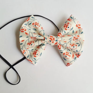 Floral Headband, Small Hairbow Headband, Toddler Headband, Baby Headband, Spring Headband