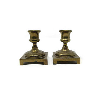 VINTAGE Brass Candlesticks - Wilton Brass Co - Mid Century Decor - Shabby Chic Decor - Vintage Home Decor - Rustic Brass Home Decor Mom Teen