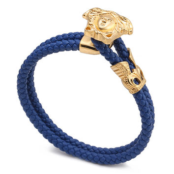 Genuine Leather Stainless Steel Bracelets & Bangles Male Punk Jewelry Medusa Queen Woman Snake Bracelet Double Layer Bangles