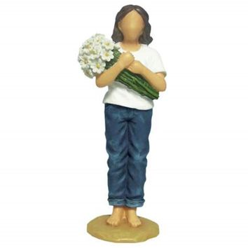 """WL SS-WL-18414 Woman Blue Jeans Holding Daisies Thinking of You Figurine, 6"""""""
