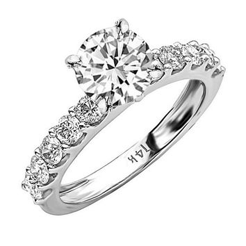 CERTIFIED | 14K White Gold 2.1 CTW Round Cut Classic Side Stone Prong Set Diamond Engagement Ring, J Color VS1-VS2 Clarity Center Stone (Platinum, Yellow, White, Rose)