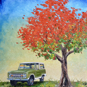 "1974 Green Ford Bronco original oil painting, 16"" x 20"" canvas, fathers day, gift, christmas, present, men, man, ford, bronco, 1970's, tree"