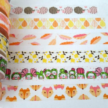 Washi tape in fall colors - 24 inches of hedgehogs, leaves, feathers, foxes, cactus people, flower washi - Lora Bailora washi