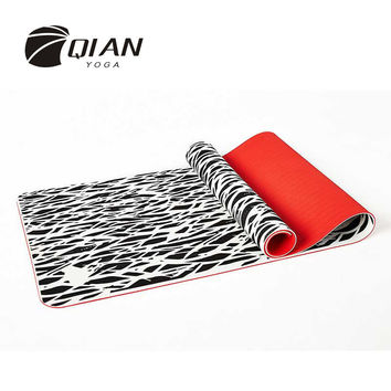 QIAN YOGA 7mm TPE Double layer Yoga Mat Non Slip Yoga Mat For Beginner Environmental Fitness Gymnastics Mats
