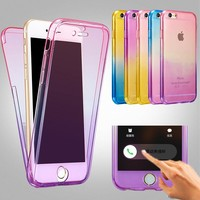 Hybrid Color Rainbow 360 Degree Soft Phone Cases On For Apple iphone 7 SE 5 5s 6 6s Front + Back 2 in 1 Rubber Cover