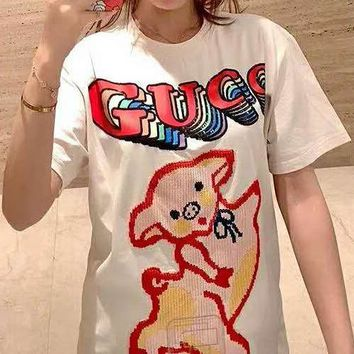 GUCCI Summer Fashion Women Cute Letter Pig Embroidery Round Collar T-Shirt Top Blouse