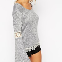 ASOS PETITE Cut and Sew Jumper with Lace Insert
