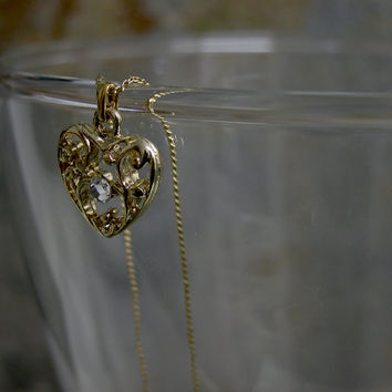 Valentine's Day Gift, Heart Charm Valentine's Gift, Delicate Charm Necklace, Gold Heart Necklace