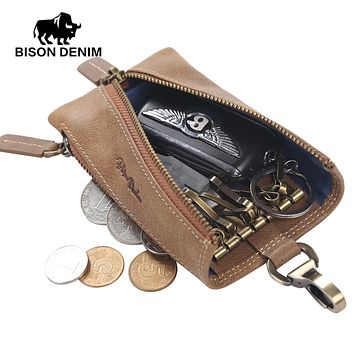 Multi Functional Key Wallet Holder Leather Men Key Chain Bag Vintage Card Key Holder Portable Organizer