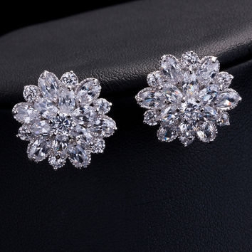 shiny crystal AAA Cubic Zircon stud earrings imitation diamond rose flower zircon earring wedding earring wonderful gifts