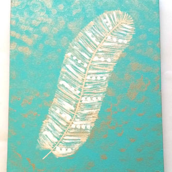 White feather acrylic canvas painting for baby girls nursery, kids room, dorm room, or home decor