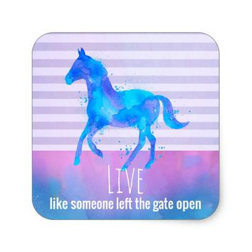 Inspirational Quote with a Horse Running Wild Square Sticker