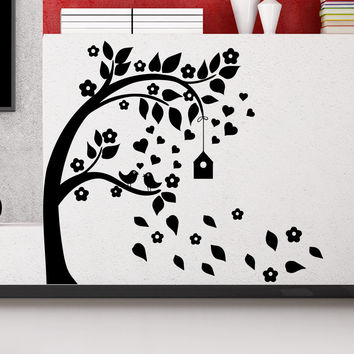 Wall Decal Tree Silhouette With Branches Birdcage Bird Art Wall Decals For Kids Playroom Nursery Bedroom Children Baby Room Home Decor MR727