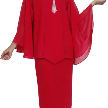 Hosanna 5031 Plus Size Church Choir Red Tea Length Dress 4 Piece Set