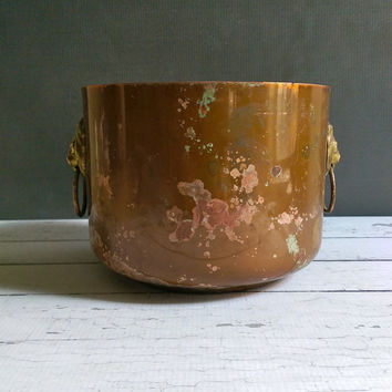 Copper Lion Head Planter/ Copper and Brass Planter/ Rustic Copper Pot/ Copper Container/ Rustic Copper