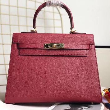 HERMES Women Fashion Shopping Crossbody Satchel Shoulder Bag Red