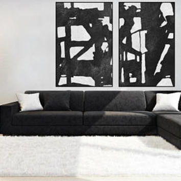 large Abstract painting minimal wall art canvas handmade Original Acrylic Painting black and white extra large wall decor minimal art