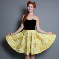 50s Quilted CIRCLE SKIRT / Studded RHINESTONES / Chartreuse, xs